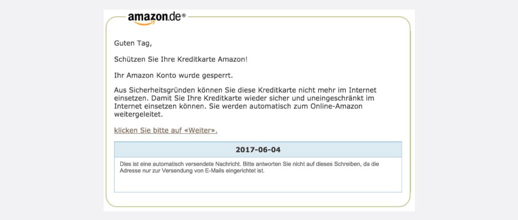 Amazon Phishing Spam Benachrichtigung Amazon Aktualisieren-Konto