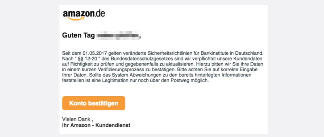Amazon Phishing Spam Konto Validierung erforderlich
