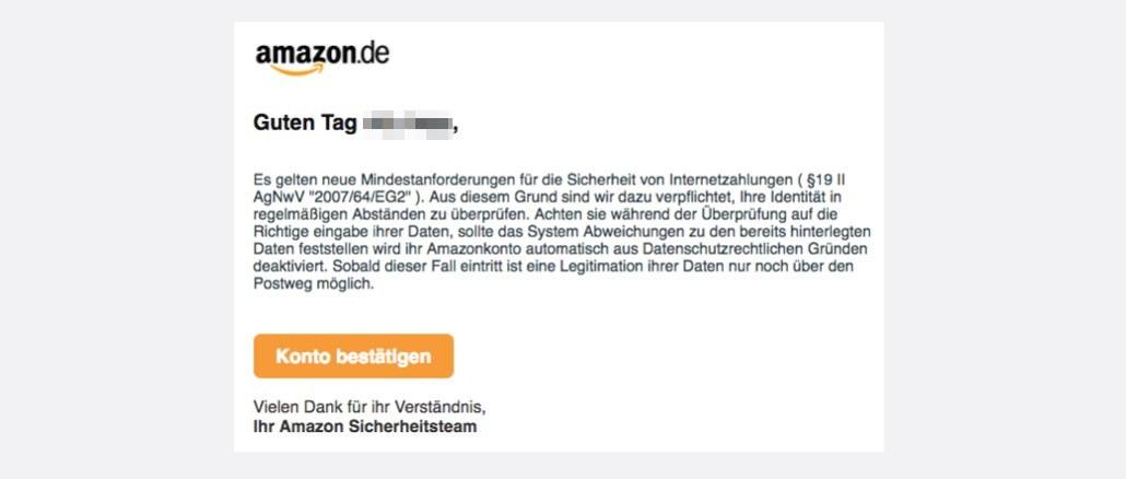 Amazon Phishing Spam Mail Validierung erforderlich