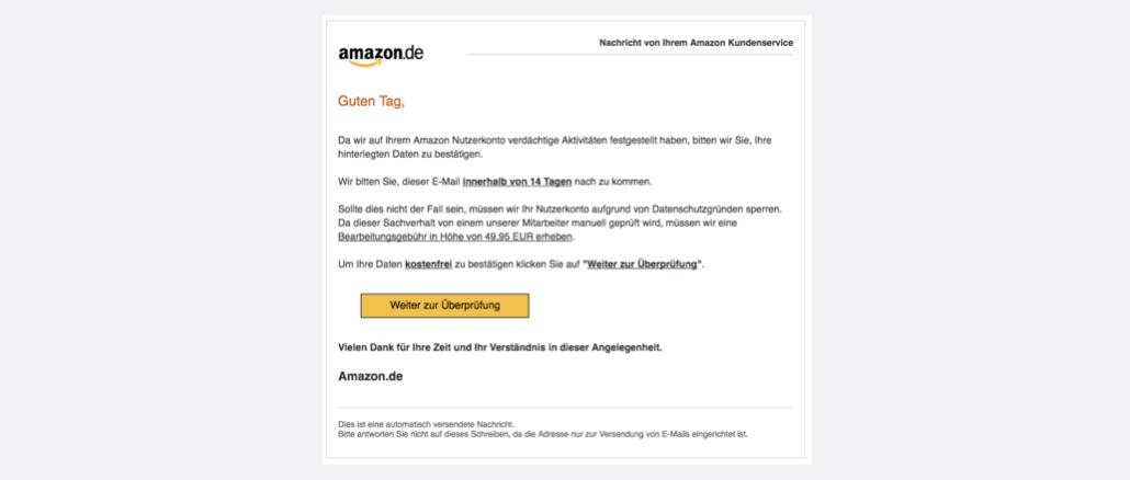 Amazon Spam Ihr Nutzerkonto wurde gesperrt
