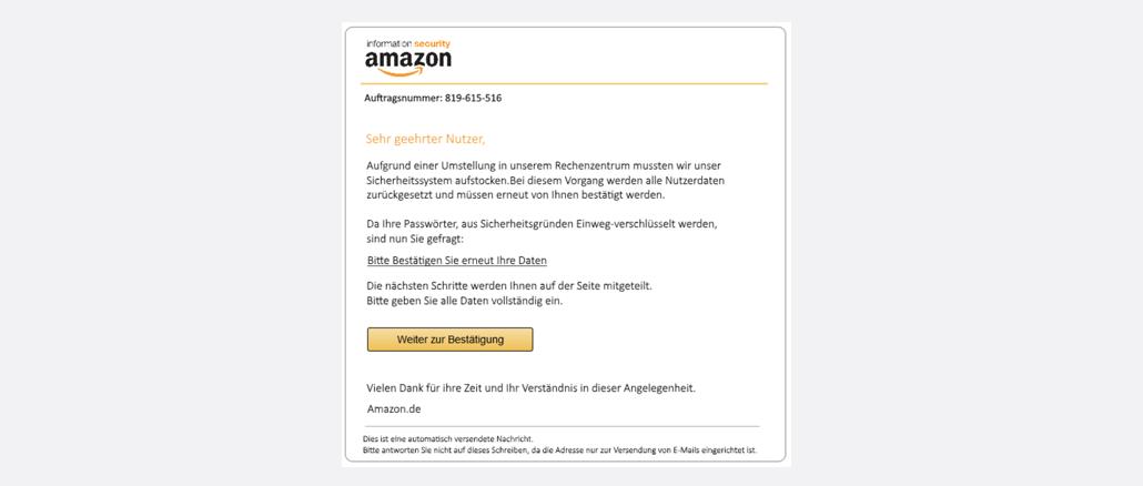 Amazon Spam Phishing Kundenkonto Überprüfung