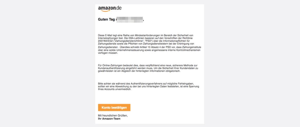 Amazon Spam Phishing Neues Authentifizierungsverfahren