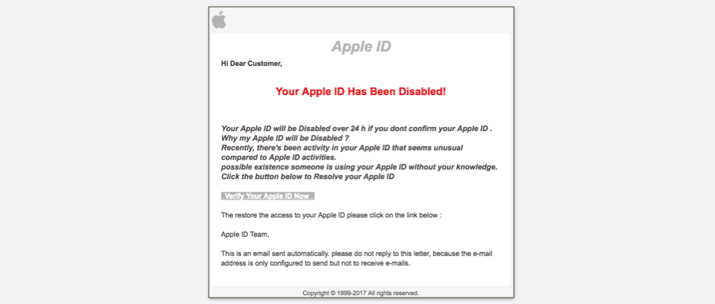Apple ID Spam Phishing Review Your Recent Activity