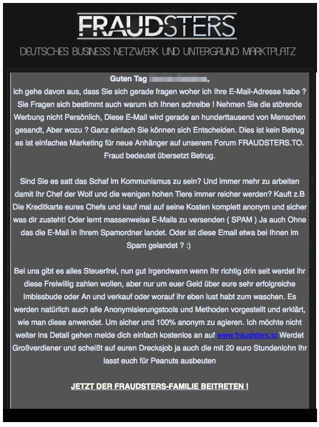 E-Mail Werbung für fraudsters.to