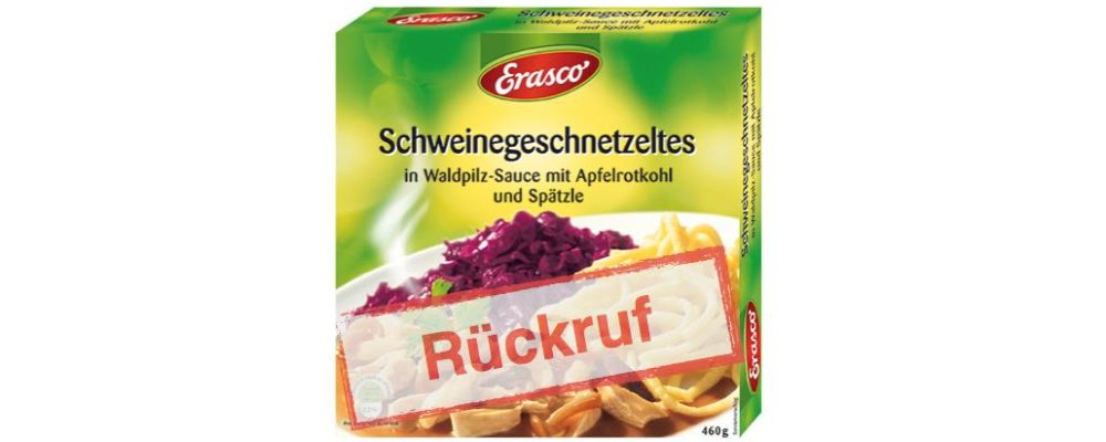 """Rückruf Continental Foods: Erasco """"Schweinegeschnetzeltes in Waldpilz-Sauce mit Rotkohl und Spätzle"""""""