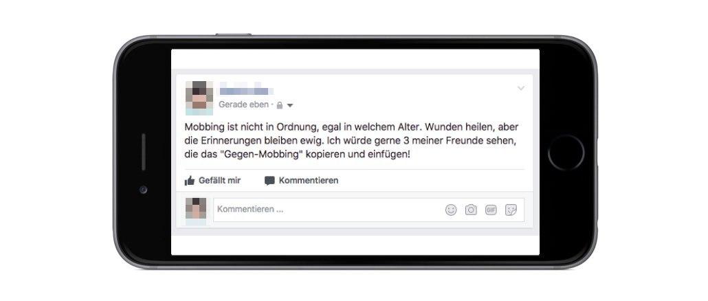 Facebook Kettenbrief Mobbing ist nicht in Ordnung