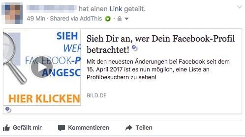 Facebook Spam Beitrag Sieh Dir an wer Dein Facebook-Profil betrachtet