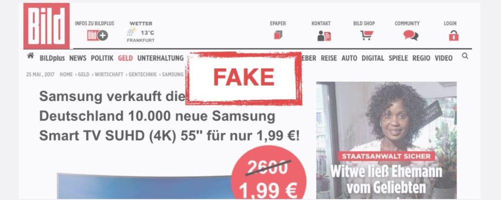 Bild-Fälschung: Samsung Smart TV SUHD (4K) für nur 1,99 Euro ist Betrug