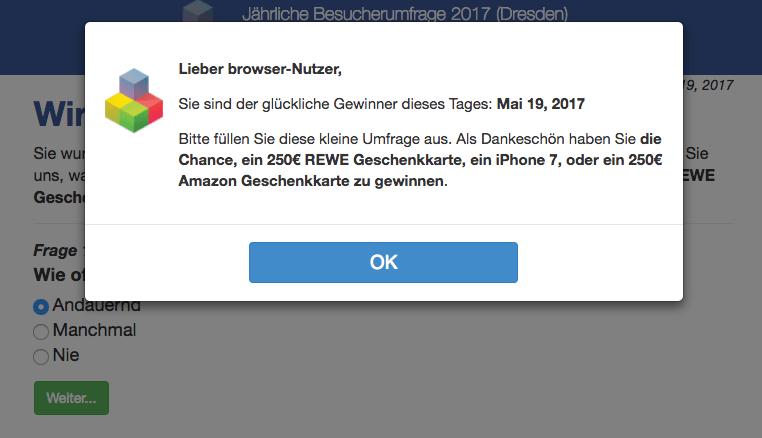 Fake Gewinn Nachricht im Browser