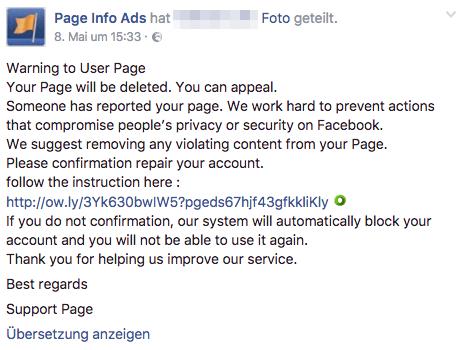 Fake-Post einer betrügerischen Facebookseite