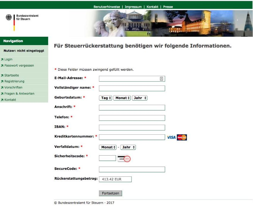 Fake Webseite Bundeszentralamt Steuern