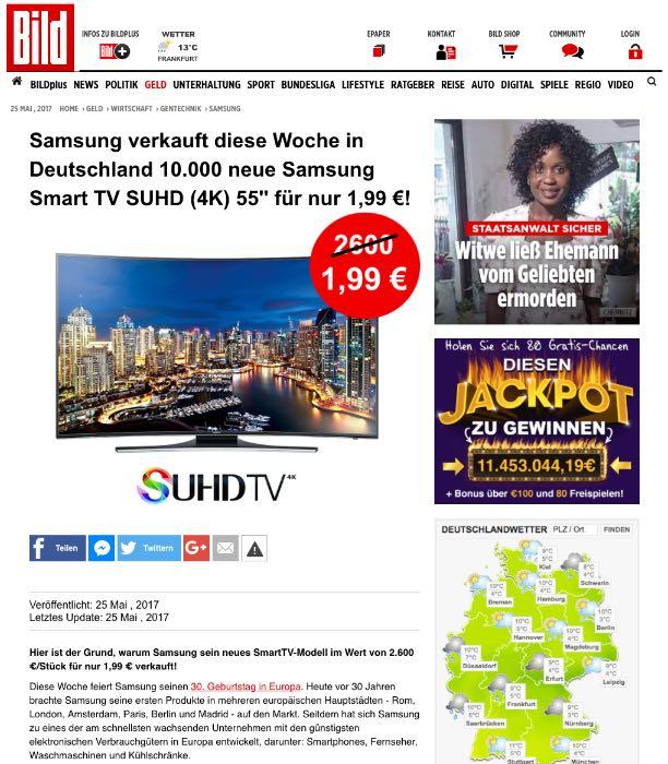 Fake Webseite im Bild-Design