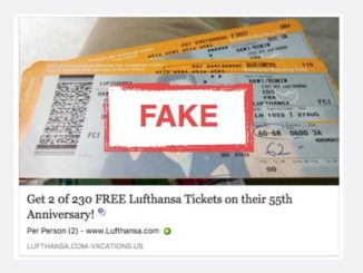 Free Lufthansa Ticket Kettenbrief Facebook Spam