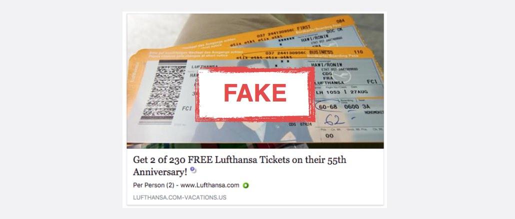 Free Lufthansa Ticket Kettenbrief Facebook Spam