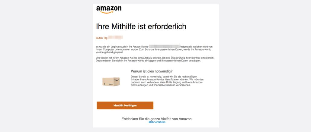 Fremdzugriff festgestellt Amazon Spam Phishing