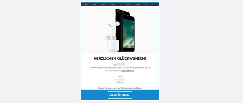 Gewinnspiel iPhone 7 Spam Werbung