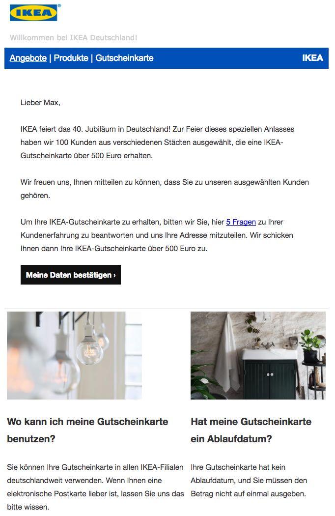 IKEA E-Mail Spam Fake 500 Euro Gutscheinkarte