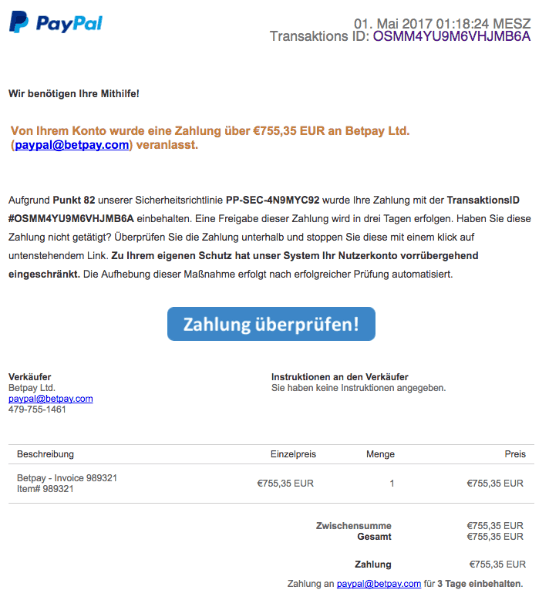 Zahlung An Paypal
