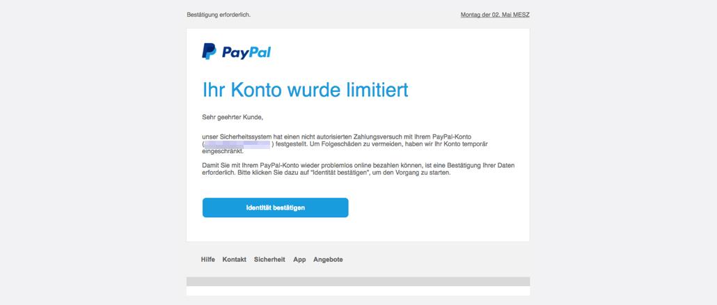 PayPal Phishing Spam Ihre Mithilfe ist erforderlich Nutzerkonto eingeschraenkt