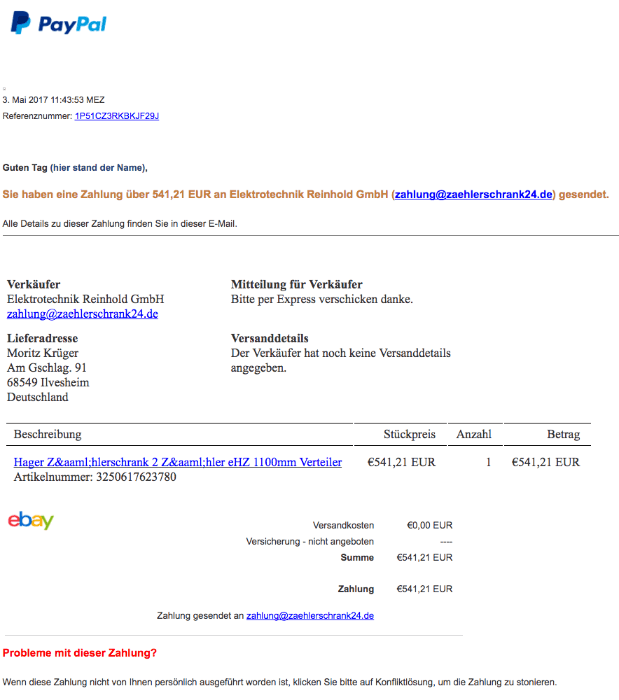 PayPal Phishing Spam Zahlung an Onlineshop