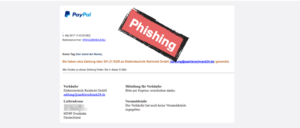 PayPal Spam Phishing Fake Zahlung Onlineshop