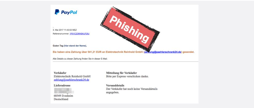 paypal phishing vielen dank f r ihren einkauf bei der. Black Bedroom Furniture Sets. Home Design Ideas