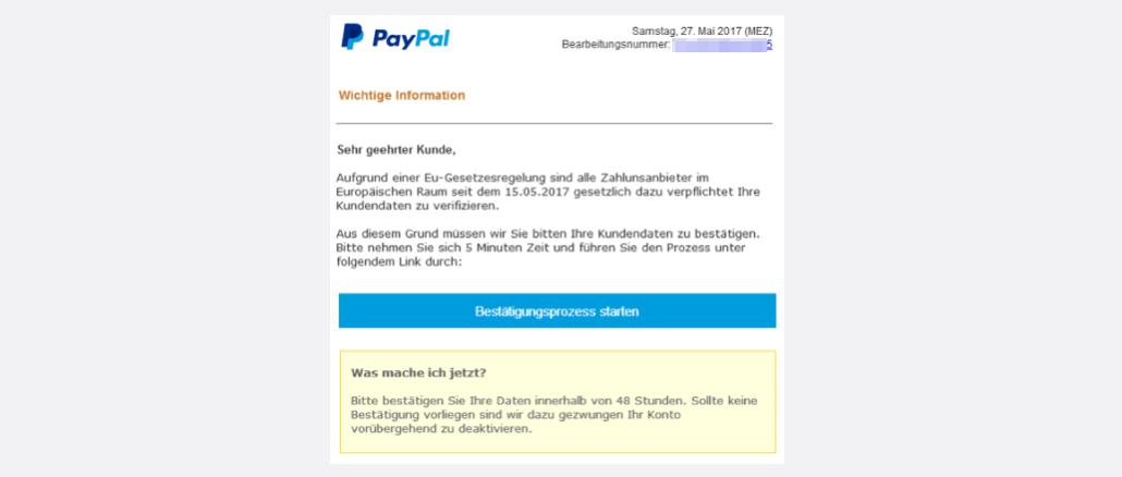 PayPal Spam Wichtig Handeln erforderlich