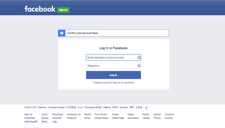 Phishing-Webseite ausserhalb von Facebook