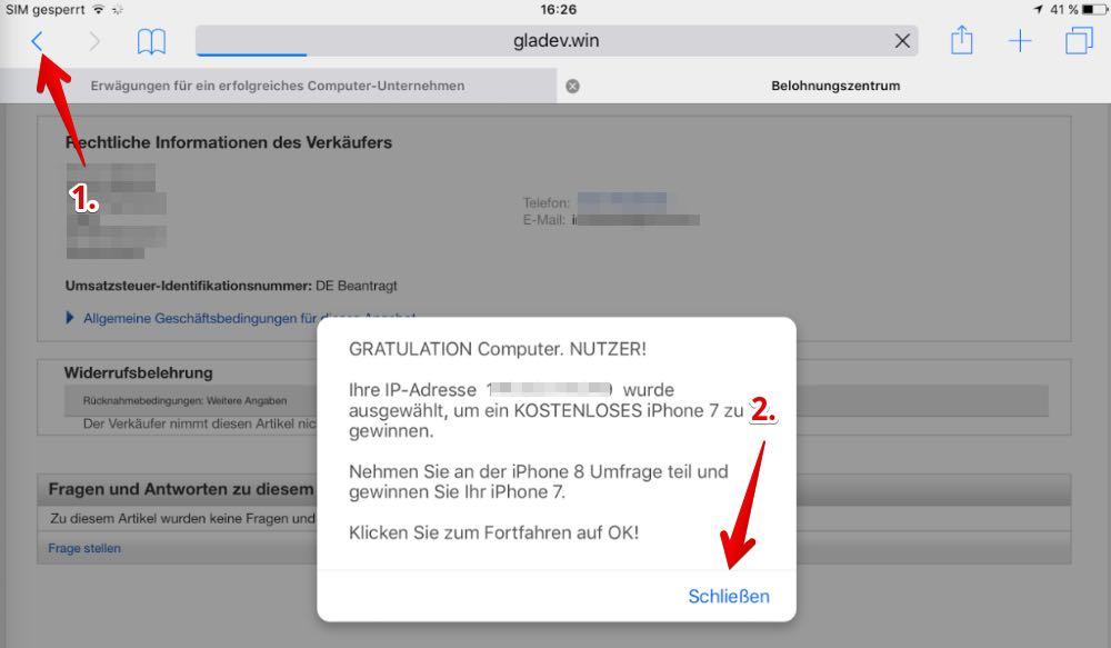 Pop-up Belohnungszentrum iPad schliessen