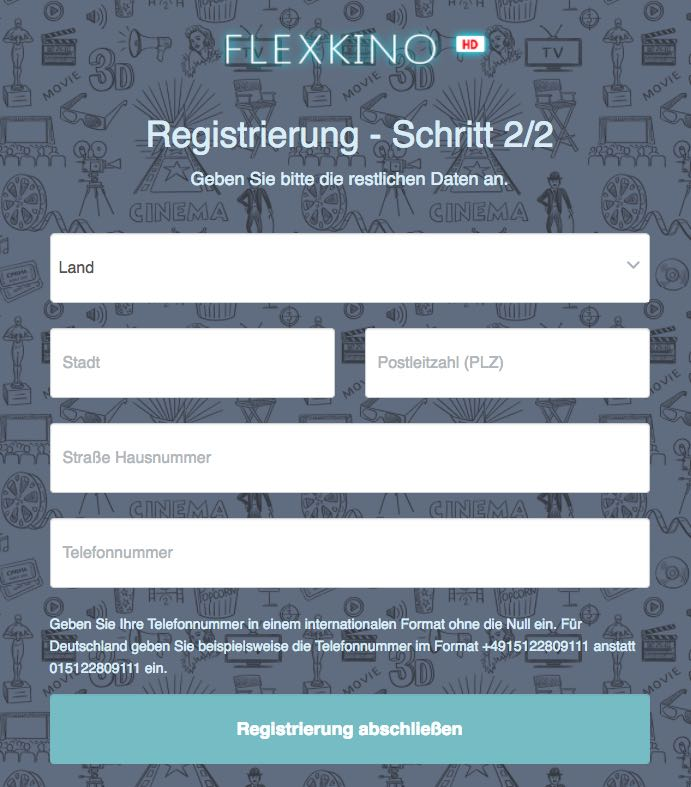 Registrierung flexkino.com