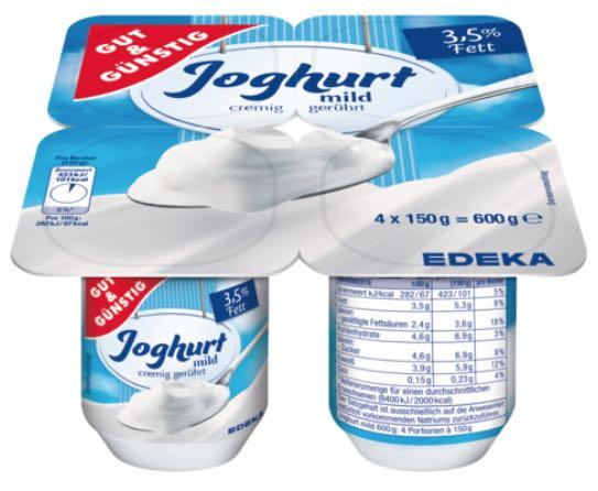 Rückruf Gut&Günstig Joghurt von Edeka