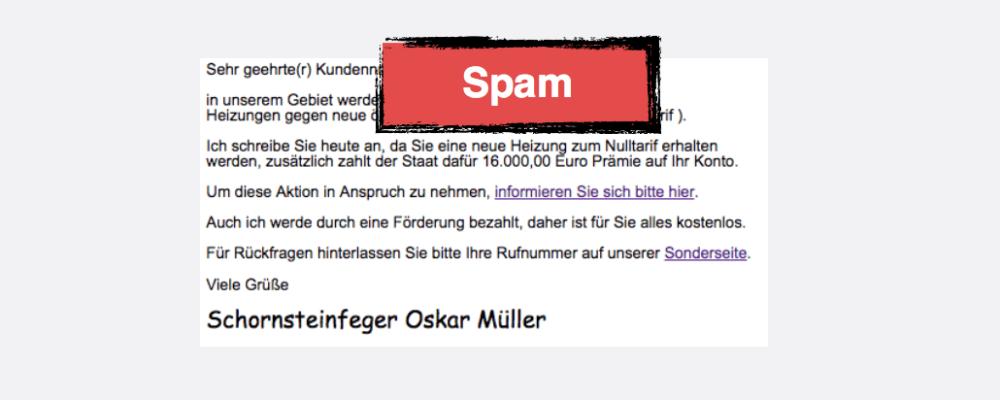 Vorsicht Spam: E-Mail vom Schornsteinfeger oder Versorger wegen Förderung 16.000 Euro