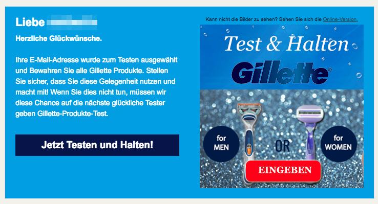 Spam-Mail Gillette Gewinnspiel Proben