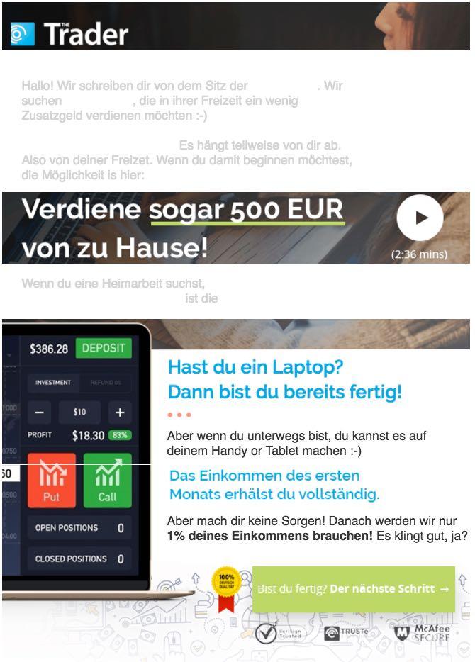 Spam Mail The Trader Jobangebot