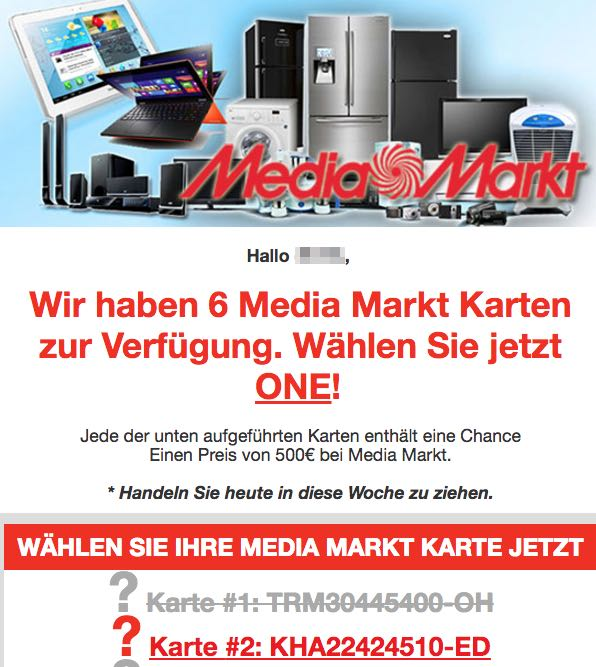 Spam Mail im Namen von Media Markt