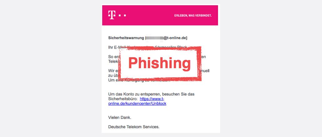 Telekom Spam Phishing Ihr E-Mail-Konto verlangt dass die Ueberpruefung unblockiert wird