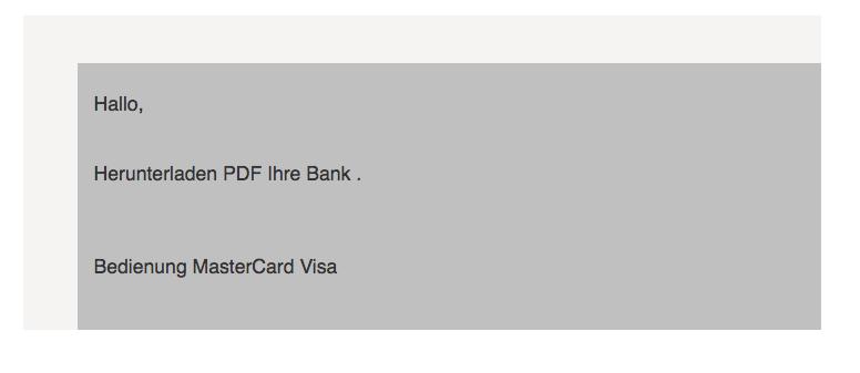 Visa Mastercard Spam Nachricht