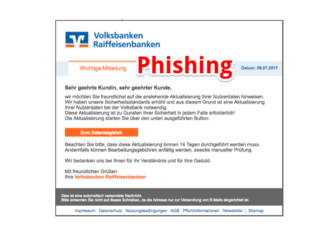 Volksbank Phishing Spam Volksbank - Sicherheitscenter