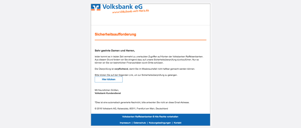 Volksbank Phishing Wichtige Mitteilung Ihr Volksbankkonto