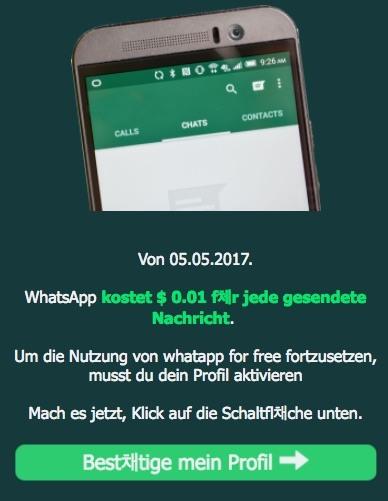WhatsApp Kettenbrief 0,01 pro Nachricht
