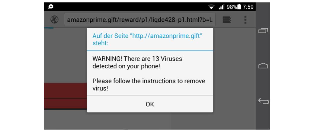 amazonprime.gift Viruswarnung Fake