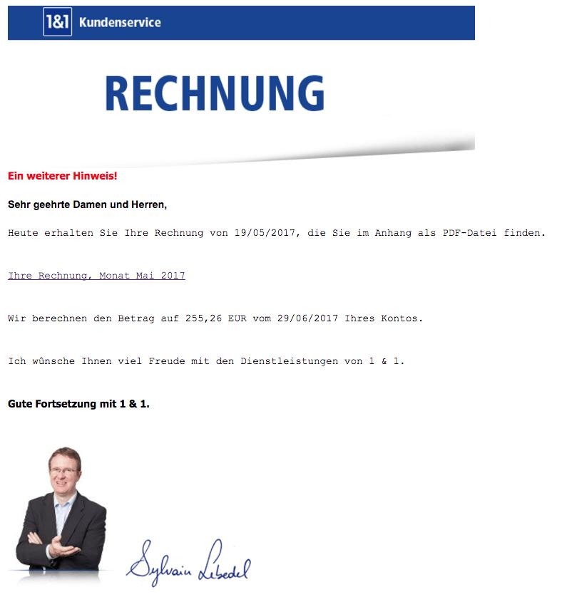 1und1Rechnung Fake Spam Phishing