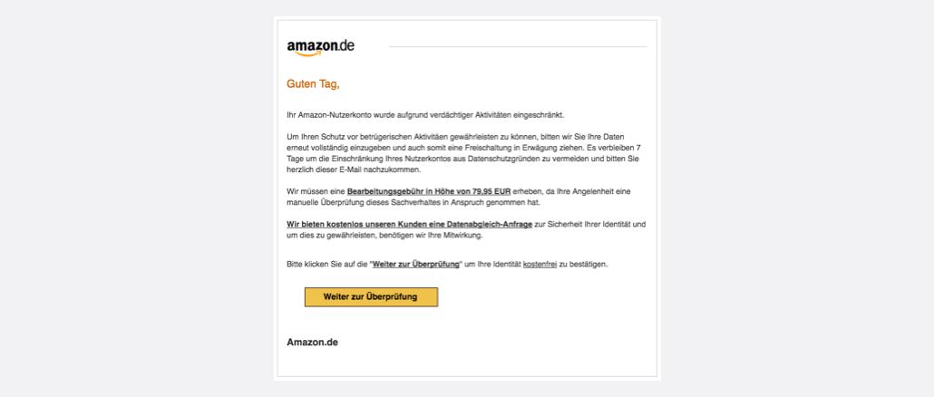 2017-06-12 Amazon Phishing Mail Achtung Nutzerkonto gesperrt