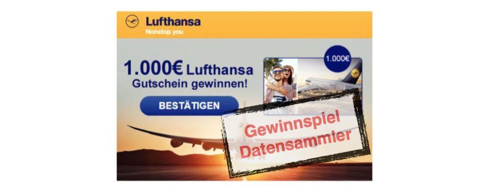 1.000 Euro Lufthansa-Gutschein ist Gewinnspiel von Datensammlern