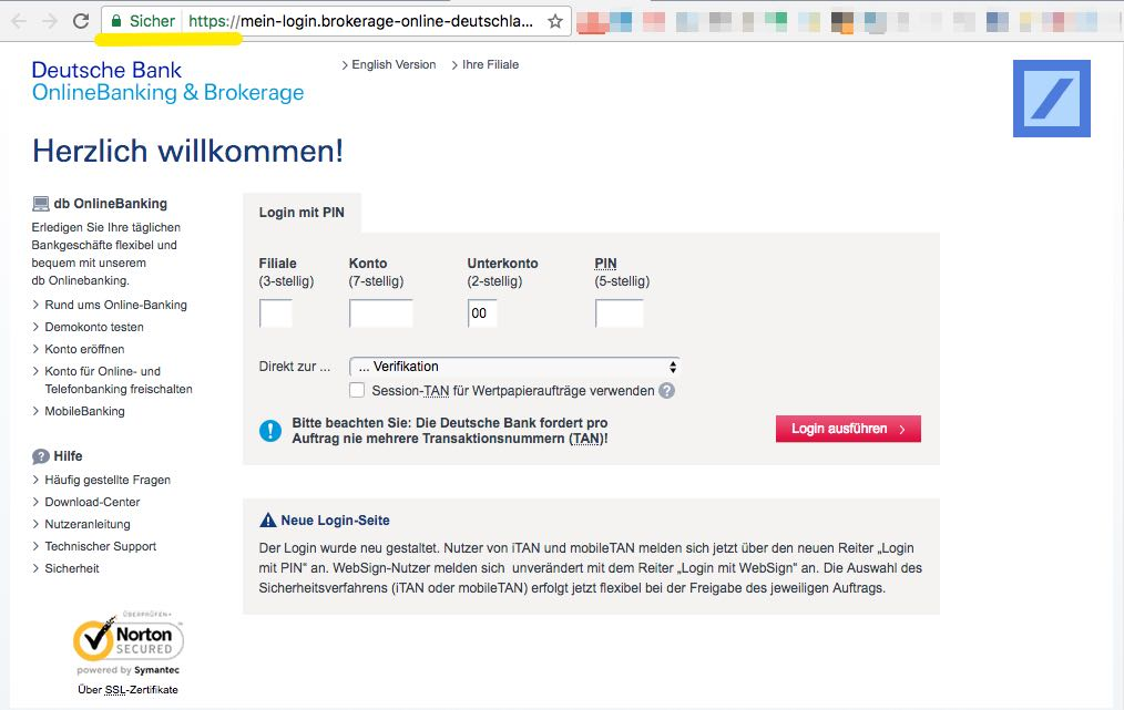 Online Deutsche Bank English