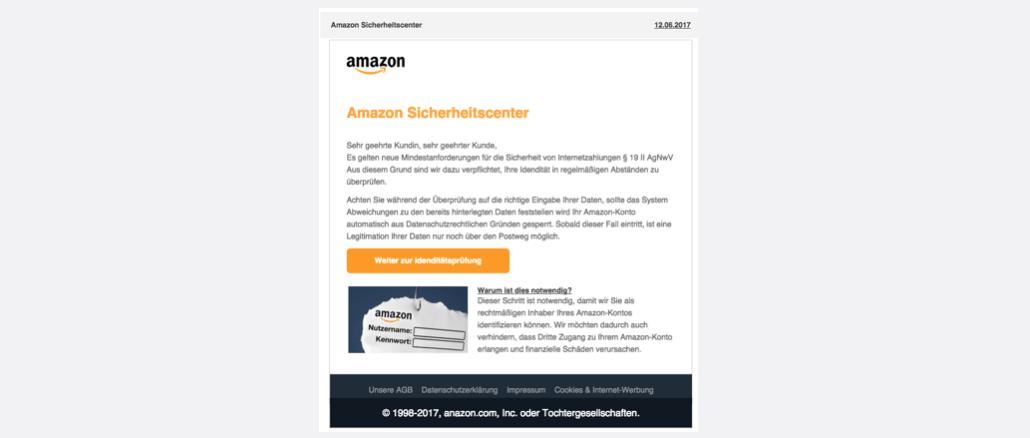 2017-06-13 Amazon Phishing Amazon Sicherheitscenter