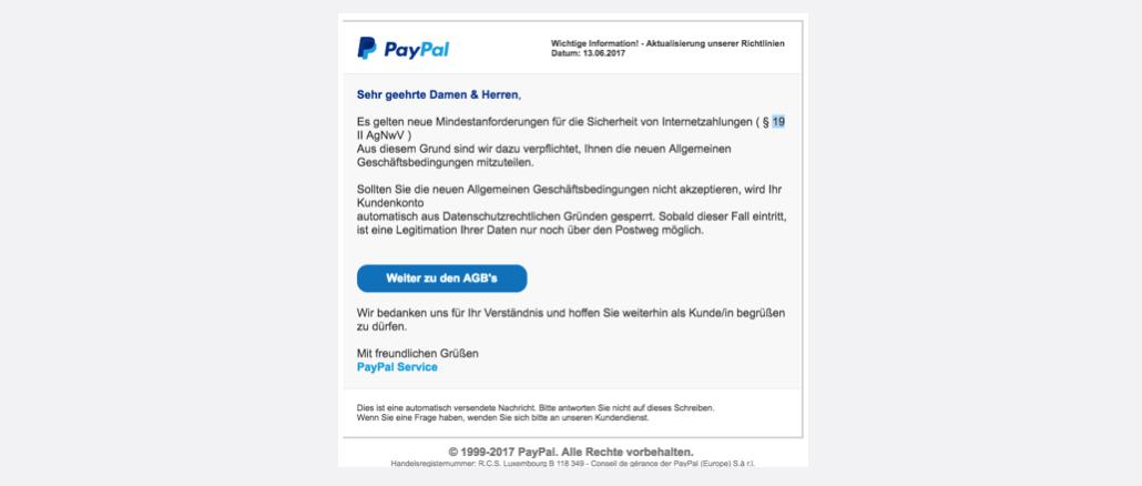 2017-06-13 PayPal Spam Anpassung unserer Richtlinien