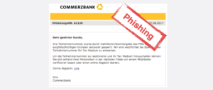 2017-08-07 Commerzbank Spam Mehrfache Falscheingabe des PINs - Handlungsbedarf