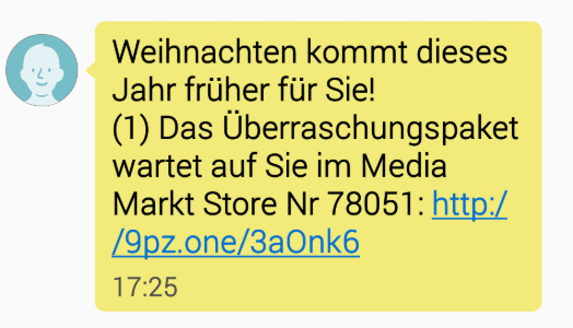 2018-12-21 SMS Media Markt Spam milliardste Google-Suche