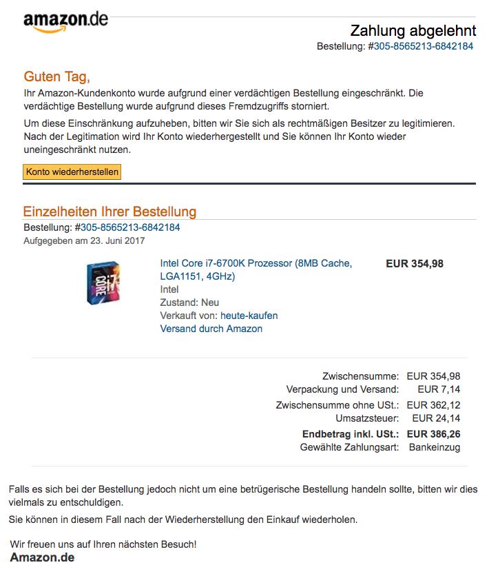 Amazon Ihr Konto Wurde Gehackt